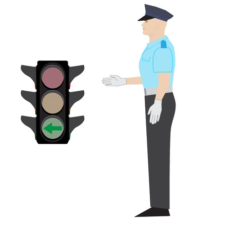 security lights: policeman showing drive left gesture. green arrow traffic light. Illustration