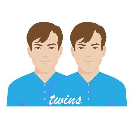 brothers: illustration of twin brothers.
