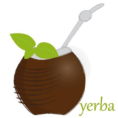 yerba mate: ilustración de un compañero de calabaza mate Vectores