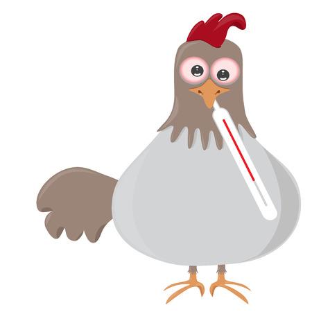 조류 독감 또는 h5n1 또는 h5n8로 알려진 데 온도계, 조류의 벡터 일러스트 레이 션.