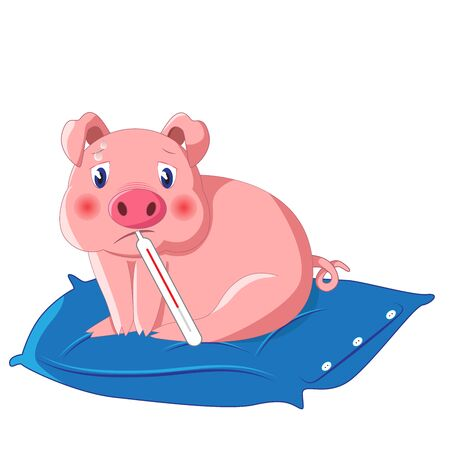 Illustration of a cute little pig with thermometer having swine flu also known as H1N1 on blue pillow.