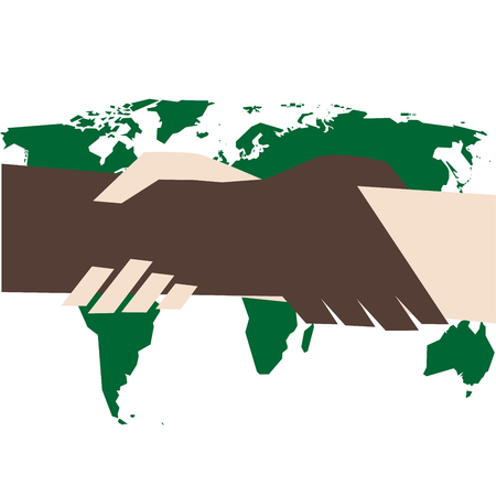 Vector illustration of handshake against racism Illustration