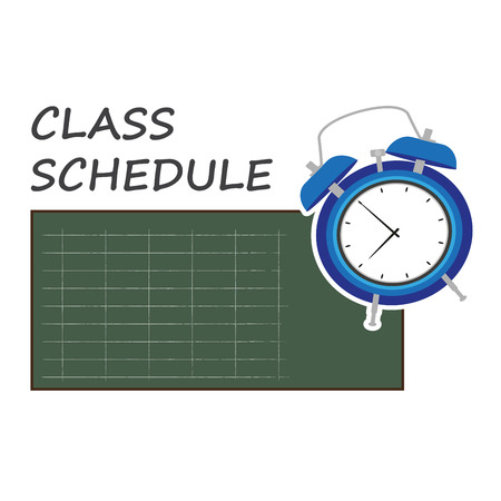 Class schedule Vector illustration of a blue board with a clock. Illustration