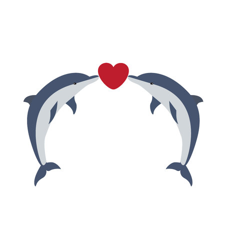 Illustration of two dolphins being in love with little red heart between their noses