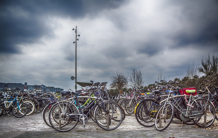 bicycle parking lots in Amsterdam, Holland. Selective focus used