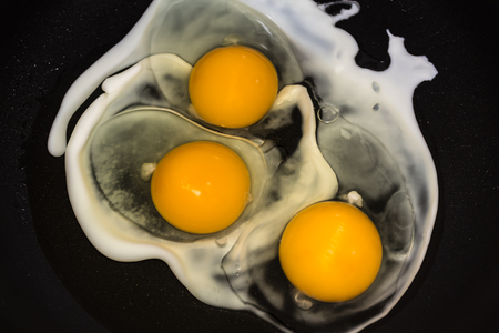 Fried eggs in a pan close-up 写真素材
