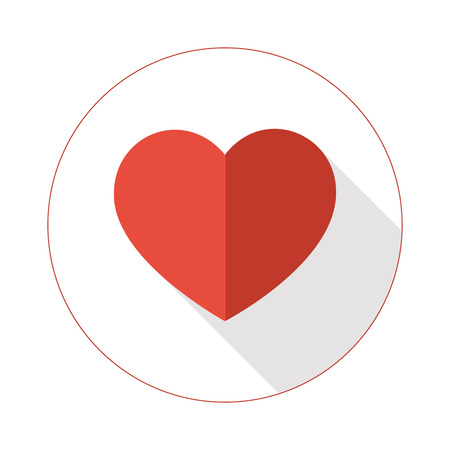 Red heart shape with two tones colors with long shadow closed in the circle.