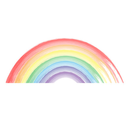 Watercolor painted rainbow.
