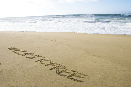 Inscription #plasticfree written on the sand on the shores of the Atlantic ocean