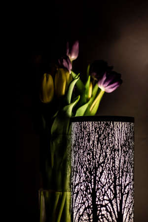 yellow and purple tulips in a vase behind a lamp with a forest motif