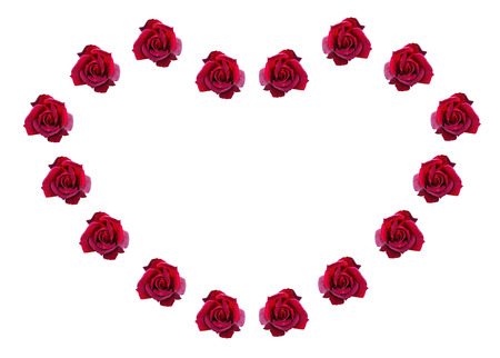 Red roses in a shape of heart  Isolated on white background photo