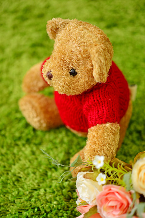 Teddy bear sitting in the garden. Concept about loneliness and expectancy. (Focus on eye) Stock Photo