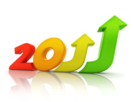 arise: Business growth in 2011. Message of hope and prosperity. Negative red to positive green