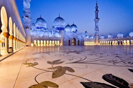 blue mosque: Grand Mosque (Abu Dhabi) at sunset