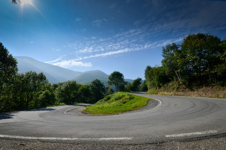 hairpin: Hairpin bend on a winding road in the mountains