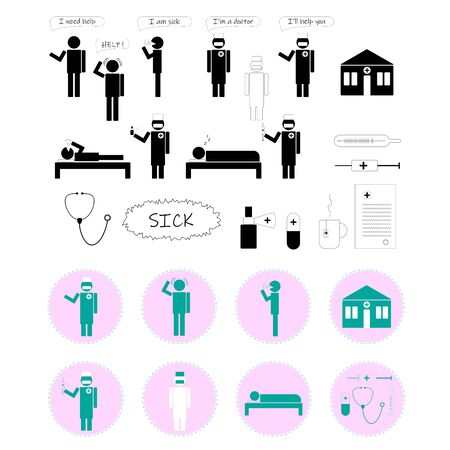 sick man asks for help, doctor, hospital, icons, black, stickers