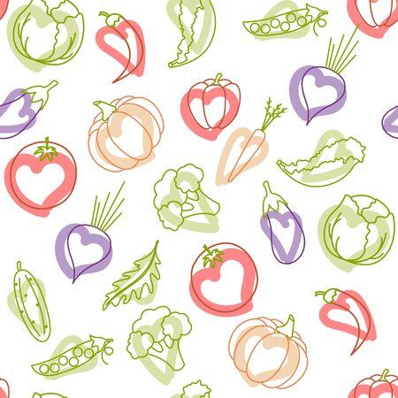 healthy natural vegetables pattern, beautiful set of vegetables. Vegan Ilustração
