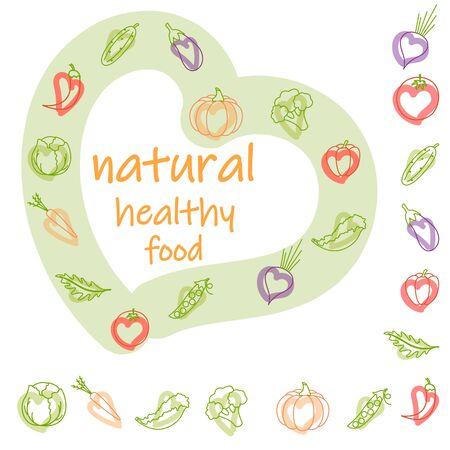 set natural vegetables healthy food, vegan