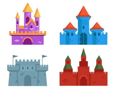 Set of castles in flat style. Vectores