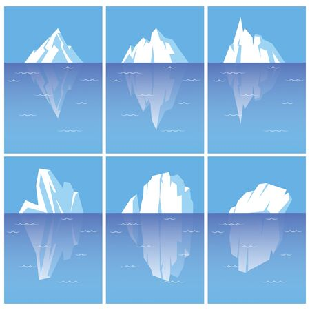 Vector set of icebergs with underwater part.