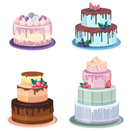 Set of different cakes. Beautiful pastries decorated with cream.