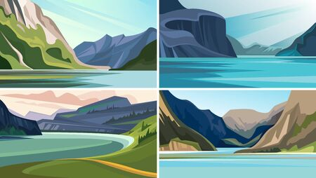Set of beautiful fjord landscapes. Nature sceneries with mountains and water.