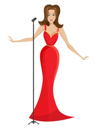 Beautiful woman singing in a red dress. Vector illustration in cartoon style isolated on white background.