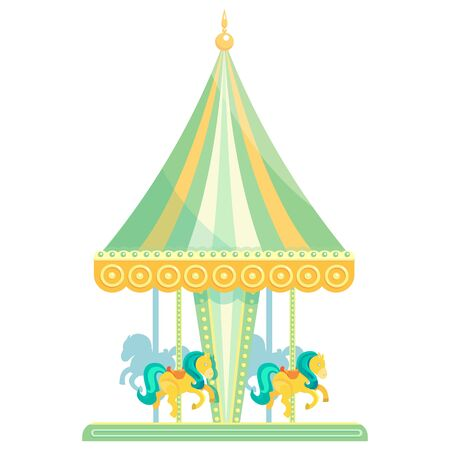 Colorful children's carousel with horses. Illustration in flat style isolated on white background.