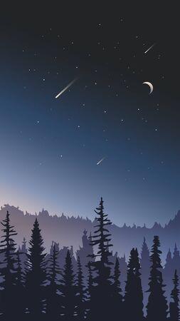 Night sky landscape. Forest on a background of stars.