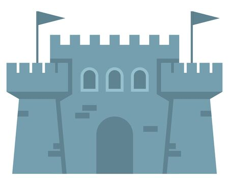 Castle in flat style. Illustration isolated on white background.
