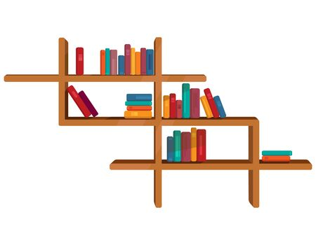 Colorful books on shelf. Vector illustration in cartoon style.