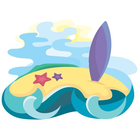 Tropical island in ocean with surfboard. Vector illustration in cartoon style.
