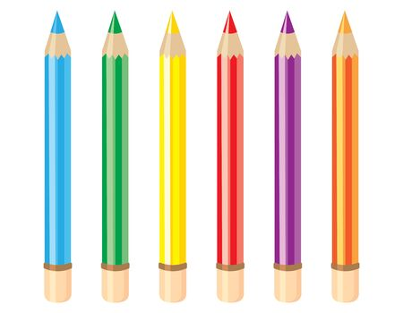 Set of colored pencils. Colorful objects in cartoon style.