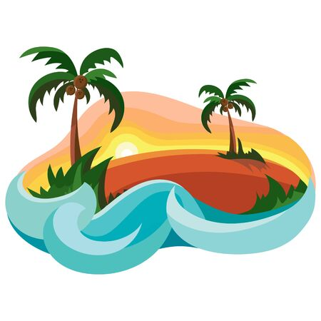 Tropical island in ocean with palm trees. Vector illustration in cartoon style.