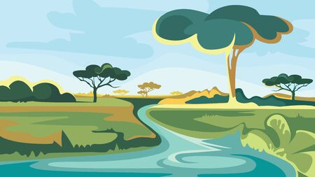 African landscape with river and trees. Beautiful nature scenery.
