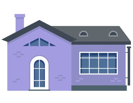 Two-storey residential building. Purple private house in flat style.