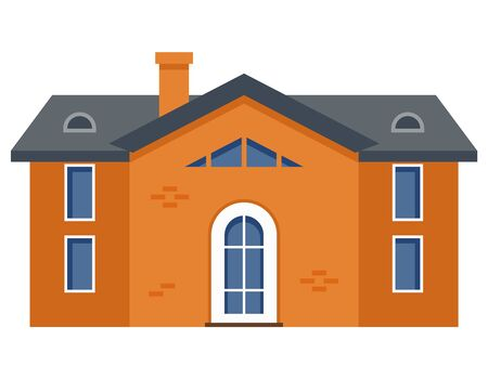 Two-storey residential building. Private house in flat style. Ilustrace