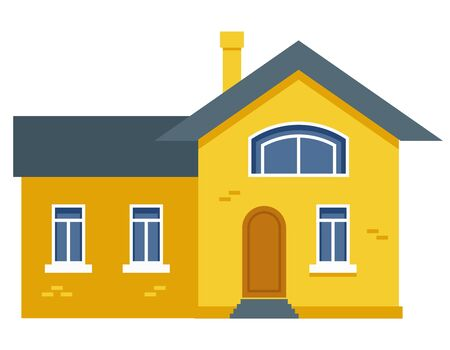 Two-storey residential building. Yellow private house in flat style.