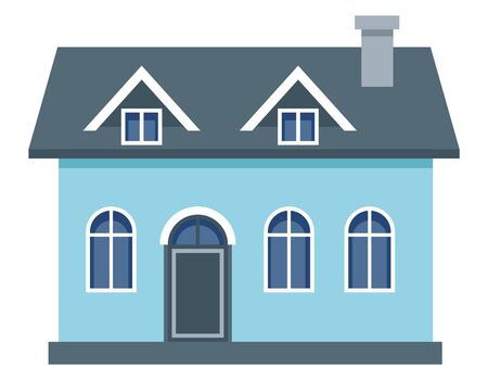 Two-storey residential building. Blue private house in flat style.