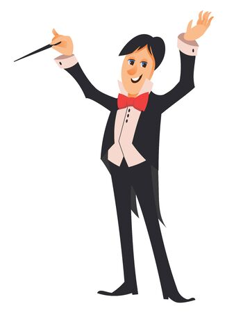 Conductor of orchestra. Character in cartoon style. Foto de archivo - 150122326