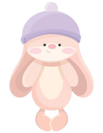 Cute teddy hare. Beautiful toy in cartoon style. Illusztráció