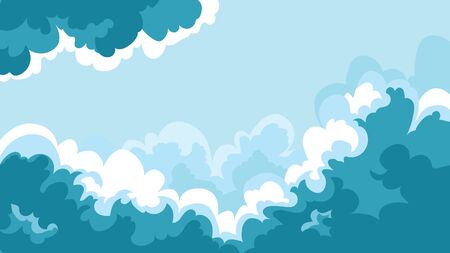 Beautiful sky landscape. Colorful clouds in cartoon style. Ilustração