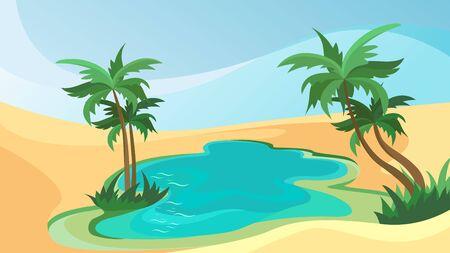 Desert oasis landscape. Beautiful nature scenery.