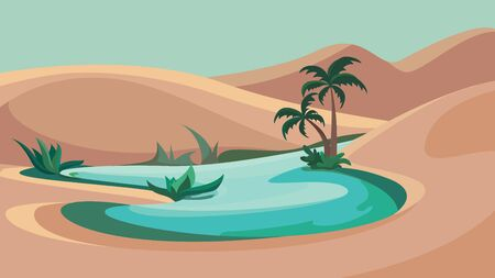 Desert oasis landscape. Beautiful nature scenery.
