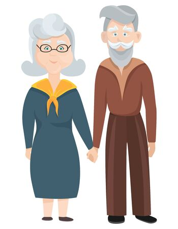 Old man and old woman holding hands. Characters in cartoon style.