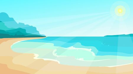 Beach on sunny day. Beautiful landscape in cartoon style.