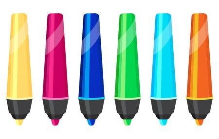 Set of colored felt pens. Colorful objects in cartoon style.