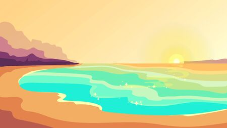 Beach at sunset. Beautiful landscape in cartoon style.