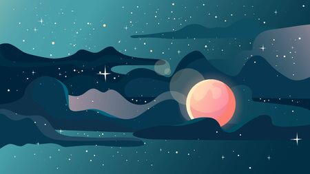 Beautiful starry landscape. Space scenery Illustration
