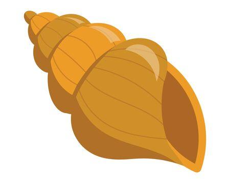 Beautiful underwater shell. Illustration in cartoon style. Vettoriali